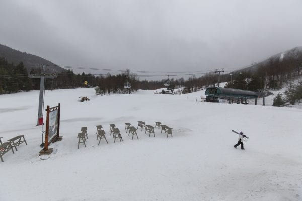 Warm weather brought rains in late January 2019, a trend that is expected to continue into the future as a result of climate change. This image was shot at Whiteface Mountain. Photo by Mike Lynch