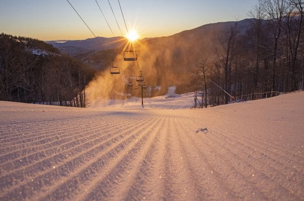 Uphill skiers at Whiteface Mountain often get a chance to experience a sunrise and an alpenglow. Photo by Mike Lynch