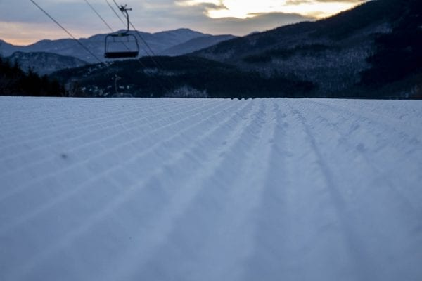 A freshly groomed trail on Whiteface Mountain. Photo by Mike Lynch