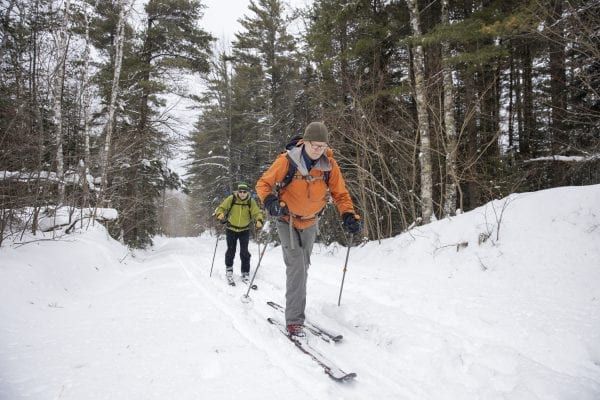 Phil Brown and Tim Peartree summited Hurricane Mountain on February 11, 2020, skiing the lower elevations and snowshoeing the steeper upper section of the trail. They used the Hurricane Mountain Lane trailhead in Elizabethtown. Photo by Mike Lynch