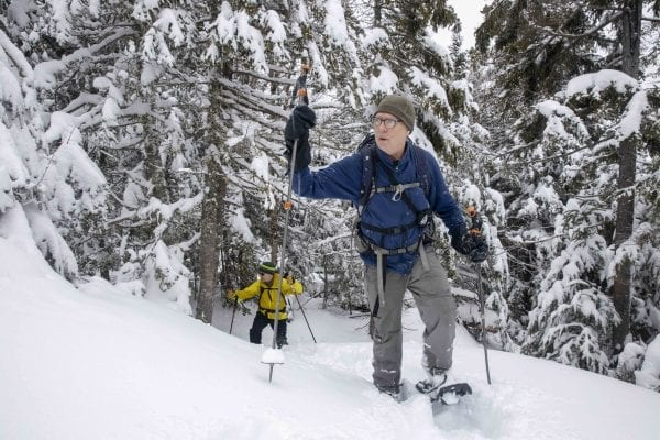 Phil Brown, shown here, and Tim Peartree summited Hurricane Mountain on a February 11, 2020, skiing the lower elevations and snowshoeing the steeper upper section of the trail. They used the Hurricane Mountain Lane trailhead in Elizabethtown. Photo by Mike Lynch