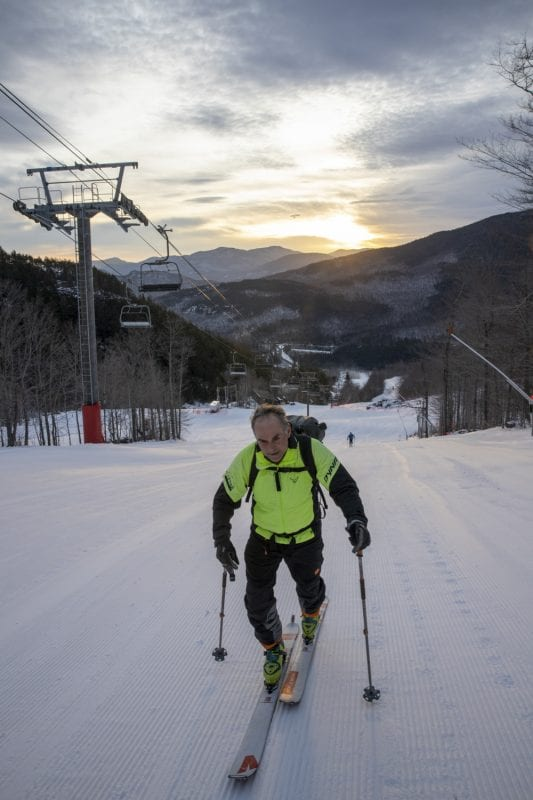 On cold winter mornings, skiers can be found skinning up Whiteface Mountain between the hours of 6 and 8:30 a.m. as part of the Uphill Skiing Program. Skiers do this for exercise, especially when there isn't a lot of snow in the backcountry, to train for upcoming adventures, and to experience the scenery at sunrise. This activity has been occurring at Whiteface for decades, but it has become more popular and more regulated in recent years. Photo by Mike Lynch