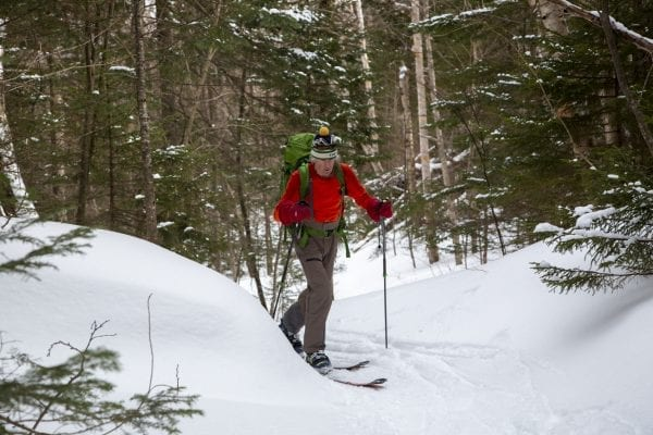 Last winter Explorer photographer Mike Lynch tagged along with Ron Konowitz for a trip on the Wright Peak Ski Trail in the High Peaks Wilderness.  This trail, built in the 1930s, continues to be popular among backcountry skiers looking for a challenging option in a remote area. Konowitz, president of the Adirondack Powder Skier Association, is a firm advocate of improving and adding backcountry skiing options to the Adirondack Forest Preserve. Photo by Mike Lynch