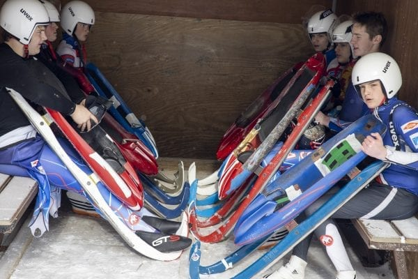 Lugers are transported after one of their runs at Mount Van Hoevenberg. Photo by Mike Lynch