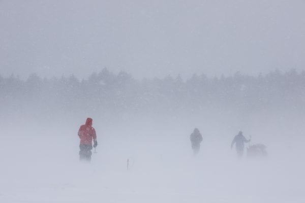 Conditions were blustery for this late February ice fishing expedition. Photo by Mike Lynch