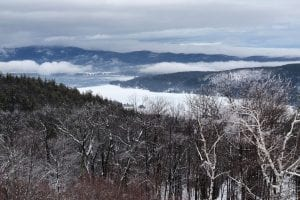 Prospect Mountain highway leads skiers to the peak