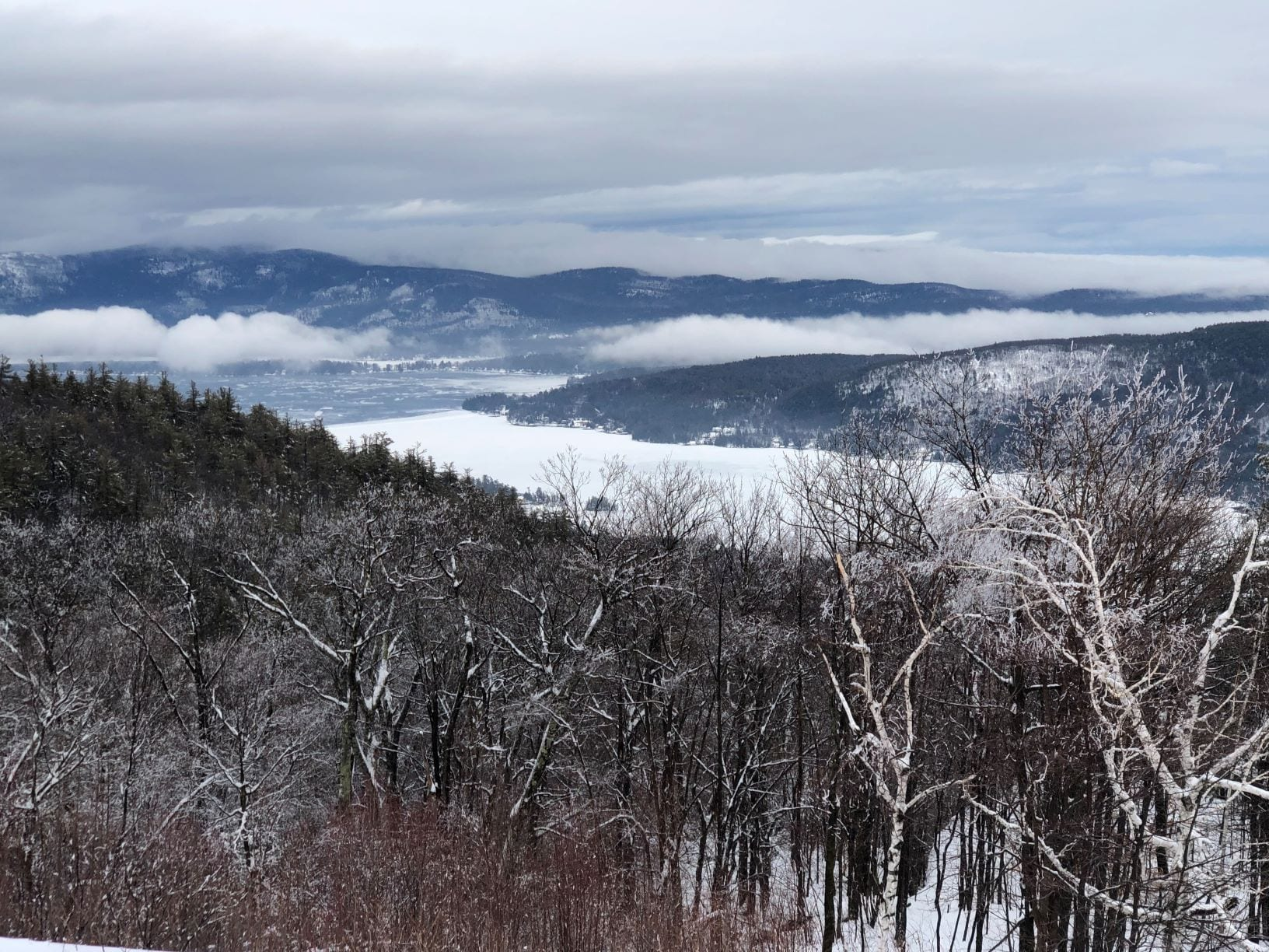 Prospect Mountain offers skiers a clear view of icy Lake George. Photo by Phil Brown