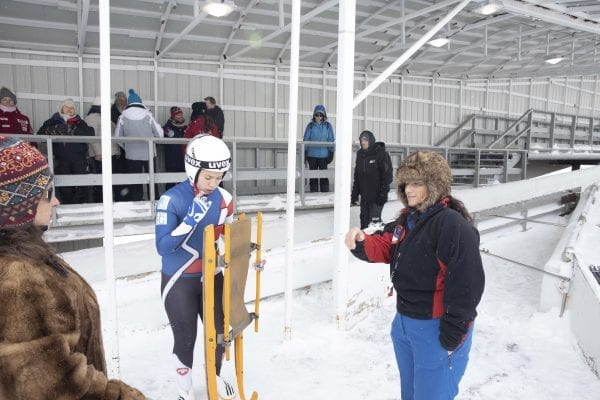 Behind the scenes with USA Luge Race Official Peggy Mousaw at the Youth National Seeding Races and Championships in February at the Mount Van Hoevenberg Sports Complex in Lake Placid. Photo by Mike Lynch