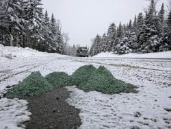 Salt piles along a High Peaks highway.