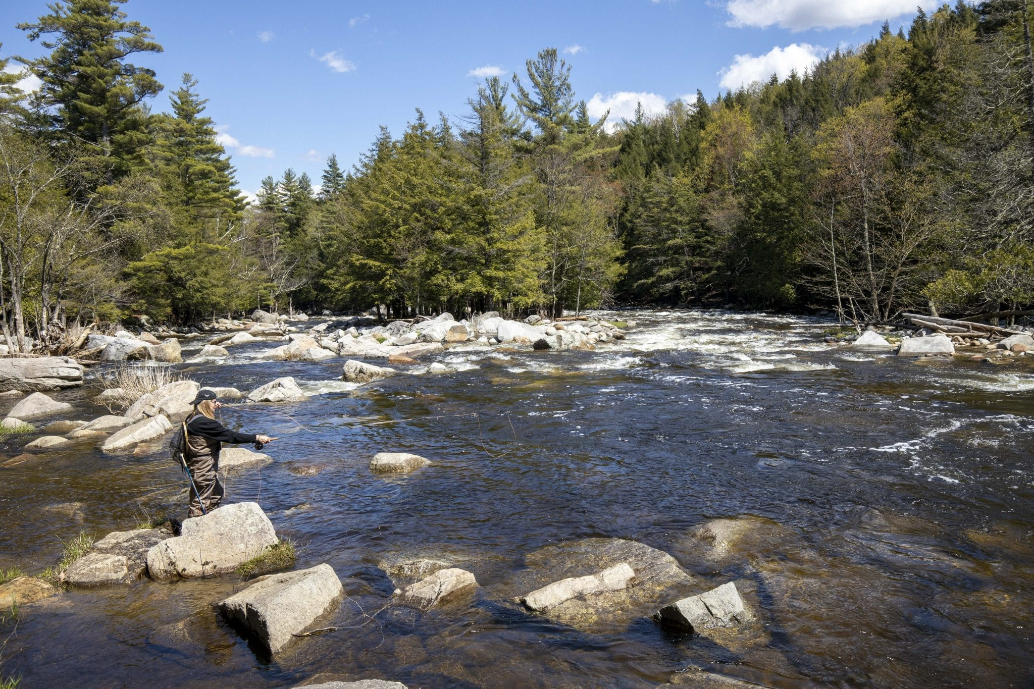 A woman fishes the West Branch of the Ausable River
