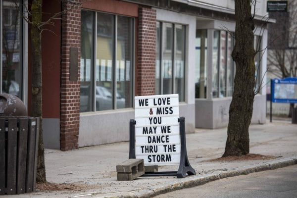 A sign outside the Dance Sanctuary in Saranac Lake. Photo by Mike Lynch