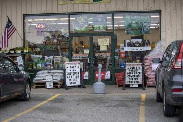 Aubochon Hardware in Saranac Lake only allows four customers into the store at a time. Photo by Mike Lynch