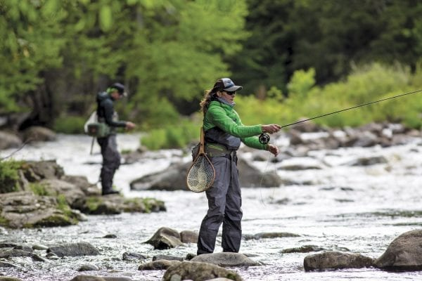 Fly Fishing became one of the first activities that guides were allowed to do this summer in the Adirondacks. Photo by Mike Lynch