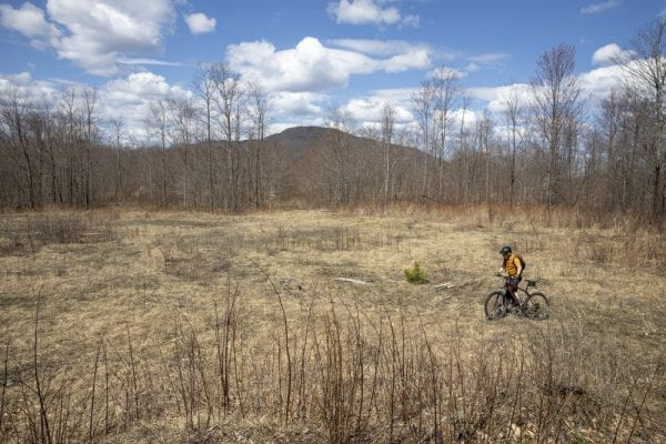 In May, multimedia reporter Mike Lynch joined former Explorer editor Phil Brown for a trip on the Sable Highlands Easement for a biking and hiking trip. The excursion started at the Fishhole Pond parking area, near Loon Lake. From there, they biked north on the D&H Road for about 2 miles, then turned left onto an old logging road and biked that a few miles to its end in a clearing with views of Loon Lake Mountains, Peaked Mountain and the Plumadore Range. On the way back, they got off their bikes and bushwhacked to a lookout on an unnamed peak with great views of the Sable Highlands and many peaks in the distance. DEC's plans call for creating a mountain-bike loop around the unnamed peak and a hiking trail to the lookout. Neither has been done. These photos by Lynch are from that trip.