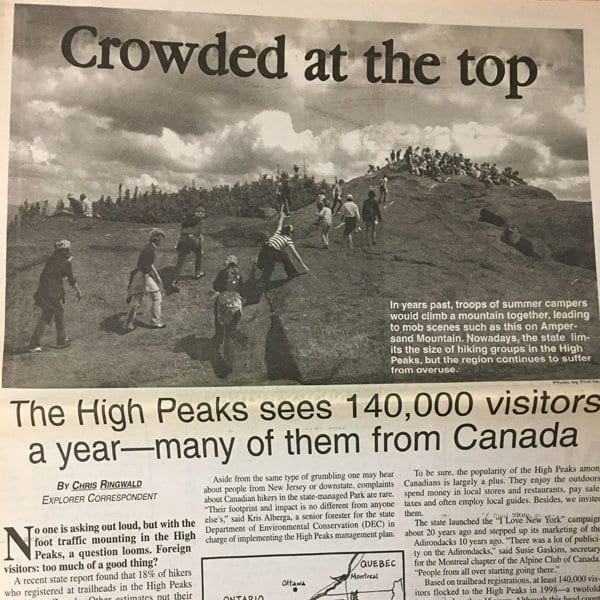 A story in the September 2001 edition of the Adirondack Explorer about Canadian hikers.