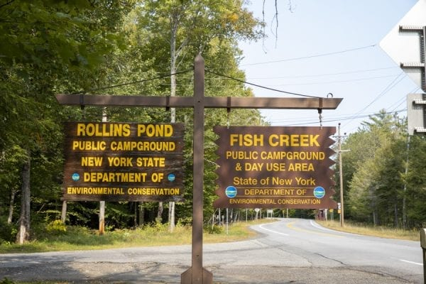 Fish Creek Campground and Rollins Pond Campground share the same entrance road. Rollins Pond users must go through Fish Creek campground to get to their sites. Photo by Mike Lynch