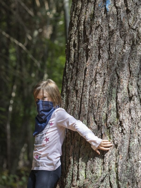 Sophia Kite hugs a large tree as she becomes immersed in the forest. Photo by Mike Lynch