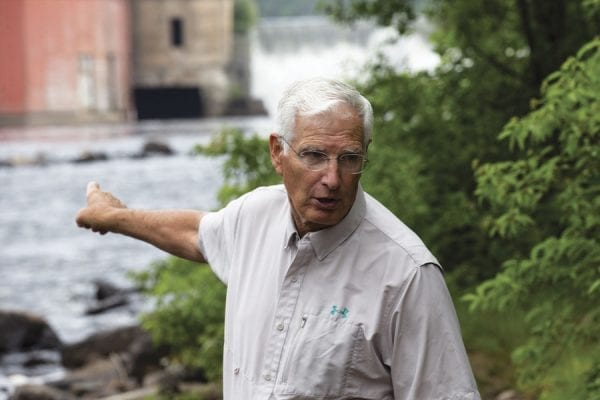 Don Lee, 75, of Trout Unlimited at the Imperial Mills Dam. Photo by Benjamin Chambers