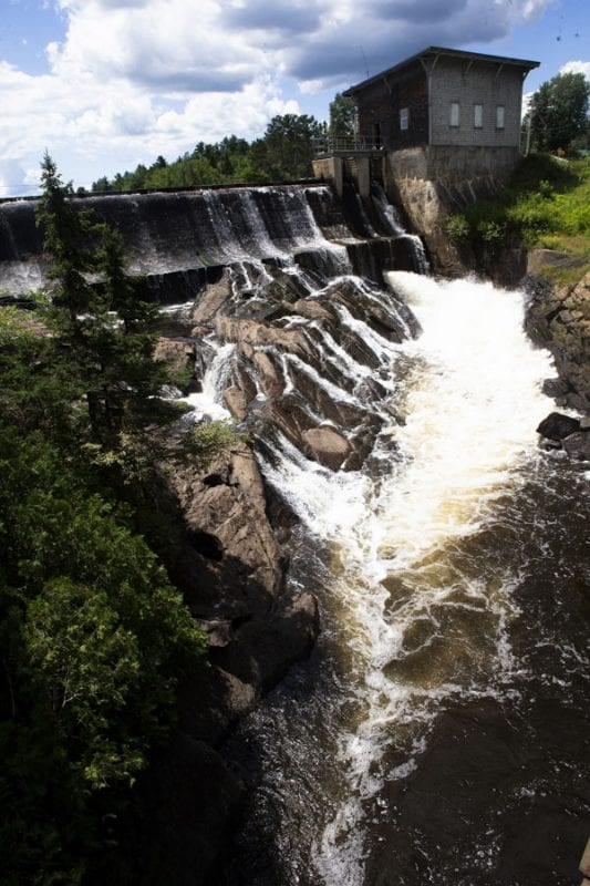 Union Falls Dam, one of the many manmade structures on the Saranac River. Photo by Benjamin Chambers