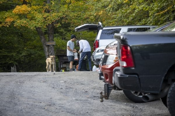 Hikers at the Upper Works trailhead. Photo by Mike Lynch