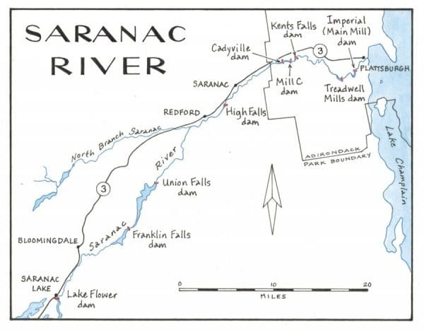 Map of Saranac River and its dams by Nancy Bernstein.