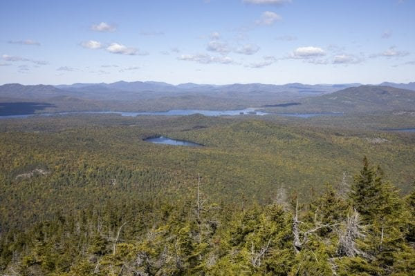 View of Union Falls Pond from Catamount Mountain. photo by Mike Lynch