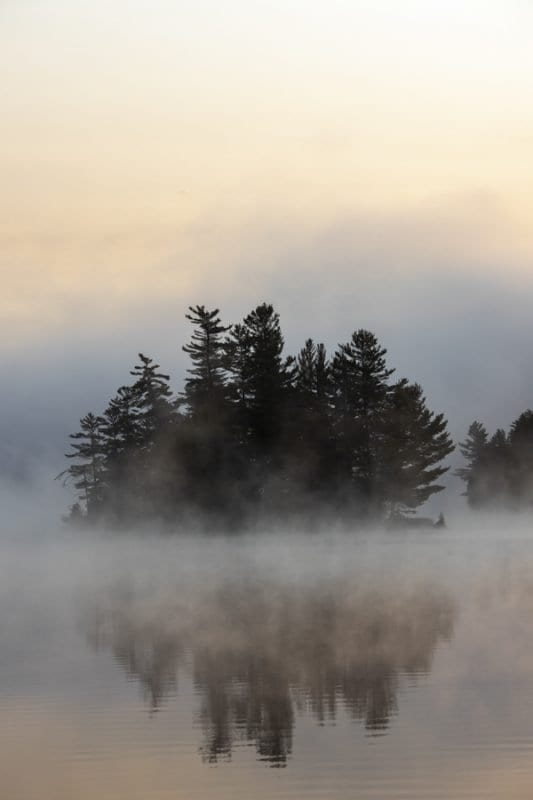 Franklin Falls Pond on a foggy September morning. Photo by Mike Lynch