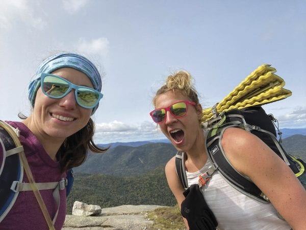 Katie Rhodes, left, and Bethany Garretson on Gothics. The pair completed the first-known unsupported hike of the Adirondack High Peaks by women. Photo by Katie Rhodes.