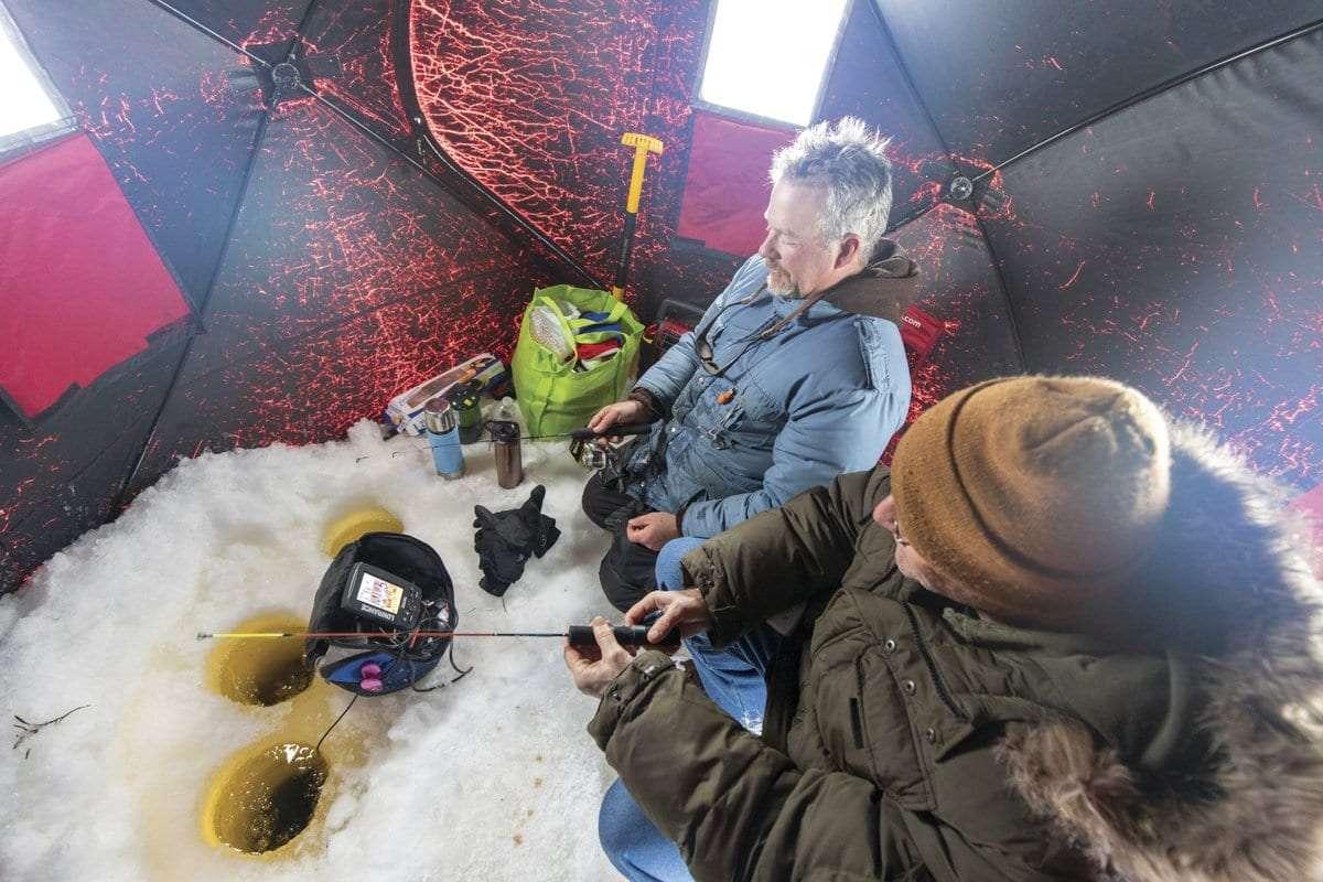inside an ice fishing shanty