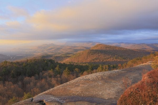 Sunrise view at Poke-O-Moonshine Mountain. Photo by Mike Lynch