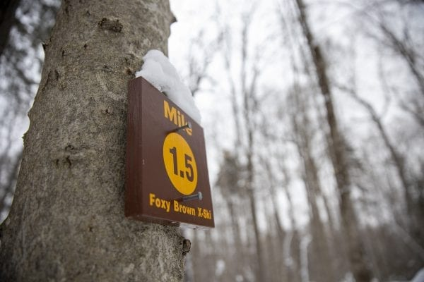 The 5.6 mile Foxy Brown Ski Trail has mileage markers for skiers along the route. Photo by Mike Lynch