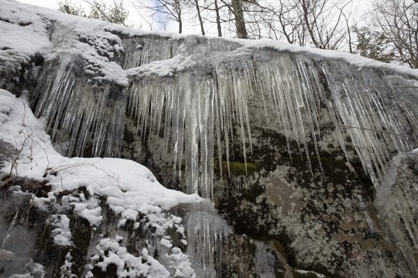 Icicles along the North Boquet Summit Trail. Photo by Mike Lynch
