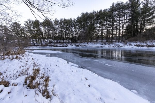 The frozen Boquet River. Photo by Mike Lynch