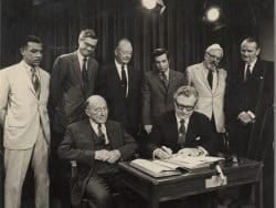 A photo of Gov. Nelson Rockefeller signing the Adirondack Park Agency Act