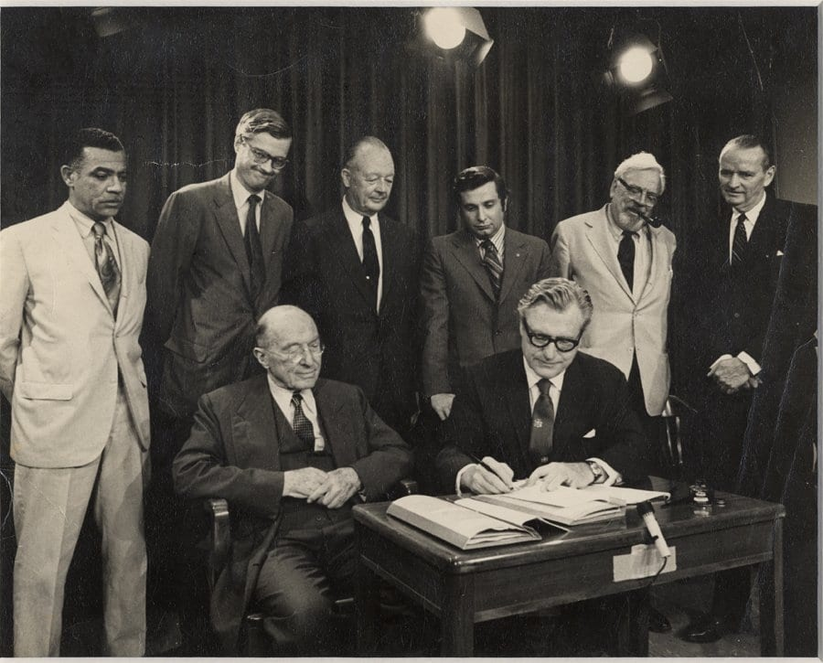 A photo of Gov. Nelson Rockefeller signing the Adirondack Park Agency in 1972.