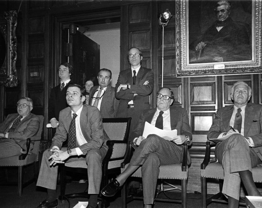 Legislator Perry Duryea, right, watches a budget presentation in 1977 with other lawmakers.