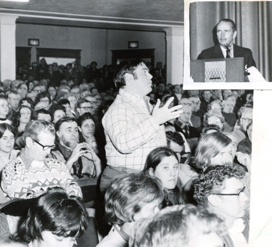 Over 800 people attended an APA hearing in Saranac Lake in 1973.