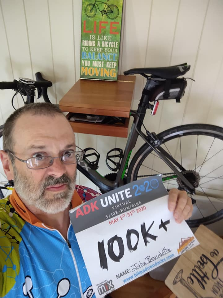 John Beaudette was one of the many 2020 ADK Unite participants. Photo courtesy of BikeADK