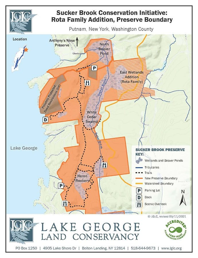 lake george land conservancy's sucker brook property in putnam