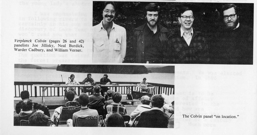 Joseph Jillinsky participates in a 1980 St. Lawrence University panel at Upper Saranac Lake.