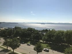 Burlington's waterfront, with the Adirondacks in the distance across Lake Champlain.