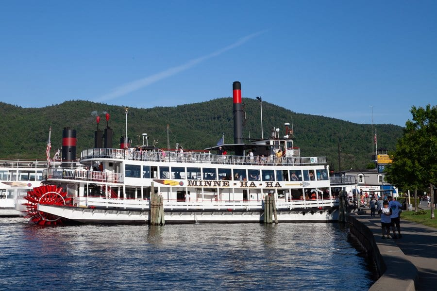 A paddleboat moored at the Lake George waterfront.