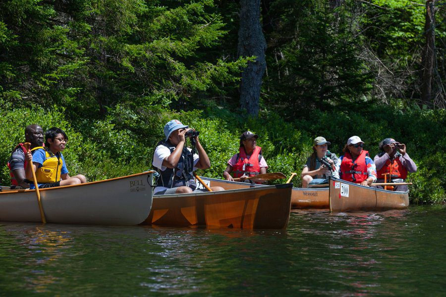 Viewing loons from the canoes.