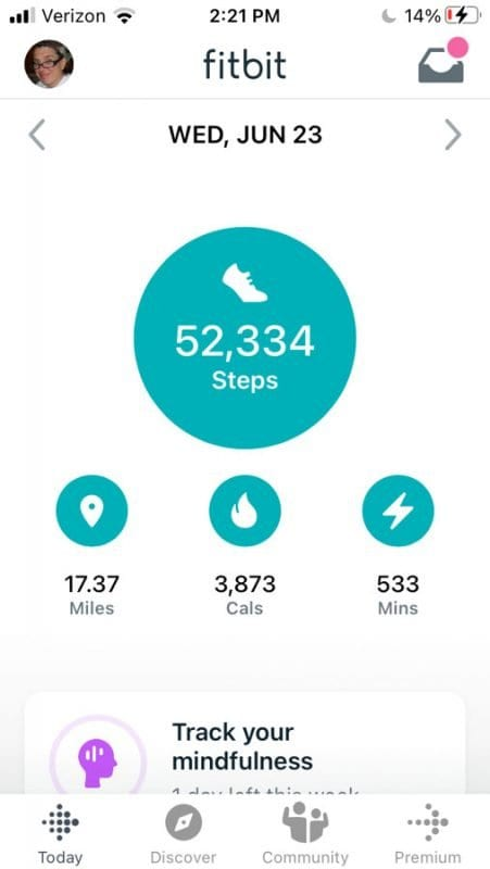 Fitbit screen from Mt. Marcy hike.