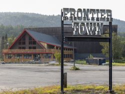 frontier town gateway a-frame building