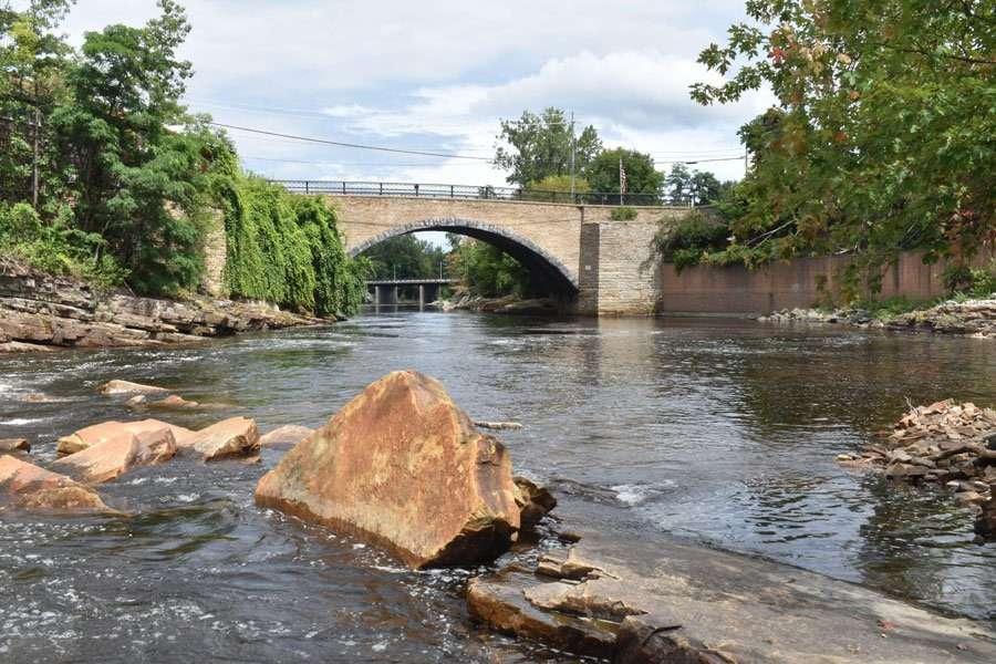 stone arch bridge over ausable